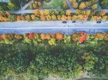Aerial view - autumn city road Stock Photo