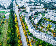 Aerial view - autumn city road Stock Image