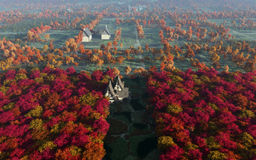 Aerial View Of Autumn Countryside Daytime Royalty Free Stock Images