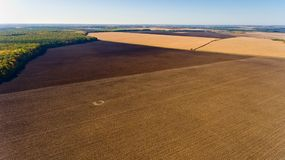 Aerial view of autumn fields. Aerial view Stock Images