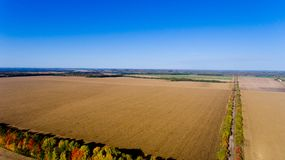Aerial view of autumn fields. Aerial view Stock Photography
