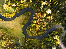 Aerial view of the autumn forest. And small river Royalty Free Stock Photo