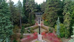 Aerial view of autumn garden of Villa Toeplitz in Varese. stock video footage