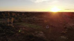 Aerial view of autumn meadow, landscape, sunset and natural lens flare effect, flight back stock footage