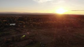 Aerial view of autumn meadow, landscape, wonderful sunset and natural lens flare effect stock video