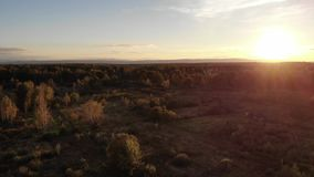 Aerial view of autumn meadow, landscape, sunset and natural lens flare effect stock footage