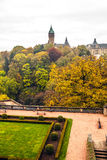 Aerial view of autumn park in district of Luxembourg City Royalty Free Stock Photography