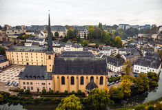 Aerial view of autumn park in district of Luxembourg City Stock Photo