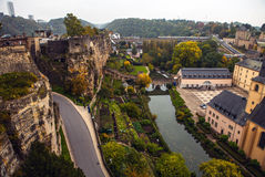 Aerial view of autumn park in district of Luxembourg City Royalty Free Stock Photo
