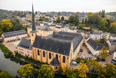 Aerial view of autumn park in district of Luxembourg City Stock Image
