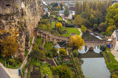 Aerial view of autumn park in district of Luxembourg City Royalty Free Stock Image