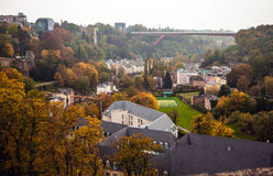 Aerial view of autumn park in district of Luxembourg City Stock Photography