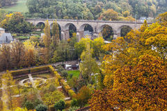 Aerial view of autumn park in district of Luxembourg City Stock Photos