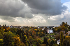 Aerial view of autumn park in district of Luxembourg City. Royalty Free Stock Images