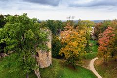 Aerial view on autumn park with old tower ruins in Cesis town, Latvia Stock Photo