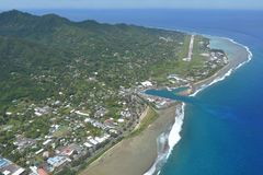 Aerial view of Avarua town and district in the north of the isla. Nd of Rarotonga. Avarua is the national capital of the Cook Islands Royalty Free Stock Photography
