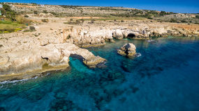 Aerial view of Ayia Napa rock arch Stock Photo