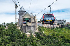 Aerial view of Ba Na Hills Mountain Resort. Danang, Vietnam - June 21, 2017: Aerial view of Ba Na Hills Mountain Resort with The longest non-stop single track Royalty Free Stock Image