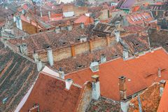Aerial view background, medieval city.Sibiu. Aerial view background on Romanian Transylvanian medieval architecture roofs city building. Sibiu Royalty Free Stock Images