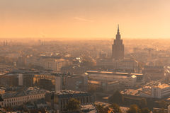 Aerial view backlit of Old Town, Riga, Latvia Royalty Free Stock Images