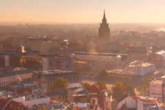Aerial view backlit of Old Town, Riga, Latvia Stock Photography