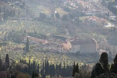 Aerial view of Badia Fiesolana Monastery in Fiesole, Tuscany, Italy royalty free stock photos