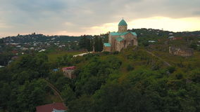 Aerial view of Bagrati Cathedral in Kutaisi center in Georgia stock footage