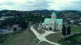 Aerial view of Bagrati cathedral near Kutaisi stock video
