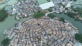 Aerial view of the Bagua Village of Licha Cun. At Zhaoqing, China stock video