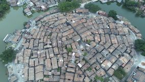Aerial view of the Bagua Village of Licha Cun. At Zhaoqing, China stock video footage