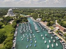 Wilmette Harbor Aerial with Baha`i Temple Royalty Free Stock Images