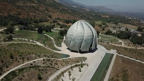 Aerial view of Bahai house of worship in Chile stock footage