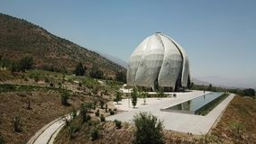 Aerial view of Bahai house of worship in Chile stock video footage