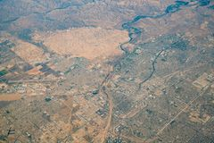 Aerial view of Bakersfield area. From an airplane royalty free stock photos