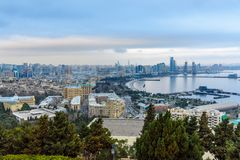 Aerial view of Baku city, View of the city boulevard in the evening. Azerbaijan. Aerial view of Baku city, View of the city Seaside boulevard in the evening Royalty Free Stock Images