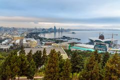Aerial view of Baku city, View of the city boulevard in the evening. Azerbaijan. Aerial view of Baku city, View of the city Seaside boulevard in the evening Stock Image