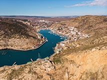 Aerial view of Balaklava landscape, small harbor with town between hills.  stock photo