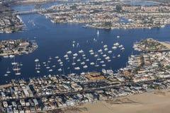 Newport Beach Balboa Bay harbor and Homes Aerial stock photos
