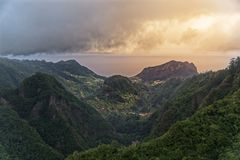 Aerial view from Balcoes at green hills and mountains in Faial county, Madeira. Aerial view from Balcoes at green hills and mountains in Faial county. Portuguese royalty free stock images