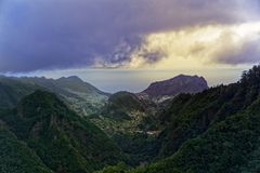 Aerial view from Balcoes viewpoint at green hills and mountains in Faial county, Madeira. Aerial view from Balcoes viewpoint at green hills and mountains in stock images