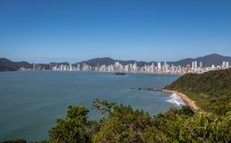 Aerial view of Balneario Camboriu city skyline and Buraco Beach Praia do Buraco - Balneario Camboriu, Santa Catarina, Brazil. Aerial view of Balneario Camboriu Stock Photography