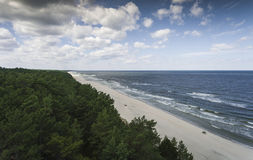 Aerial view of Baltic sea shore and forest near Krynica Morska i Royalty Free Stock Images