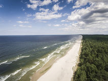 Aerial view of Baltic sea shore and forest near Krynica Morska i Stock Photography