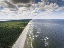 Aerial view of Baltic sea shore and forest near Krynica Morska i Stock Image