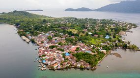 Aerial view of Banda Neira island stock image