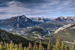 Aerial View of Banff from Atop Sulphur Mountain Stock Photos