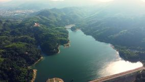 Aerial view on bang wan dam in Phuket. stock video footage