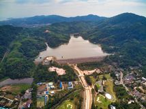 Aerial view on bang wan dam in Phukets. stock image