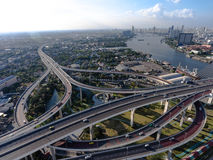 Aerial view of bangkok busy highway. Taken in afternoon, useful for engineering, industrial, transportation concept Stock Photos