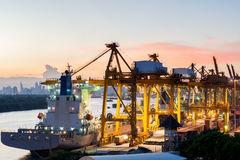 Aerial view of Bangkok cargo container port in evening use for l Royalty Free Stock Photography
